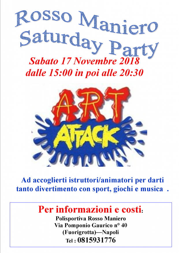 Saturday party art attack A3