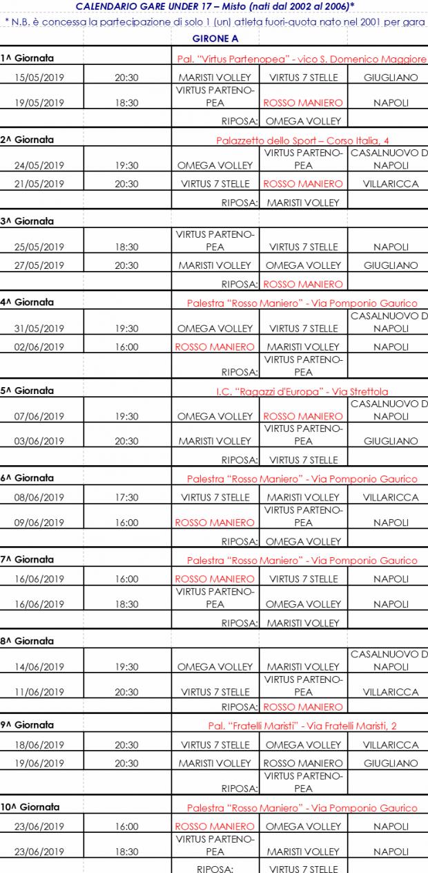 calendario u 17 misto volley